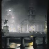 Trafalgar Square by Night with a Full Moon Photographic Print