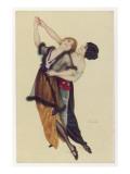 Two Stylishly Dressed Ladies Dance the Tango Stylishly Together Giclee Print