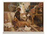 Three Dachshunds Have a Great Time with Master's Papers Giclee Print