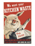Wartime Pig Food Poster Giclee Print