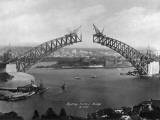 The Sydney Harbour Bridge During Construction in Sydney, New South Wales, Australia Reprodukcja zdjęcia