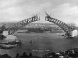 The Sydney Harbour Bridge During Construction in Sydney, New South Wales, Australia Fotodruck