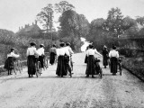 Victorian Women Cyclists Pushing their Bicycles, 1898 Photographic Print