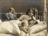 Two Sisters Prepare for Bed - and of Course their Dolls Come to Bed with Them Photographic Print