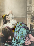 A Turkish Woman in Her Interior House Clothing, Reclines on an Ottoman Settee Photographic Print