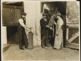 Three Men Use Oxygen to Treat a Horse at an the Great Northern Railway Infirmary for Horses Photographic Print