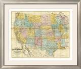 National Map of the Territory of the United States, c.1868 Framed Giclee Print by William J. Keeler