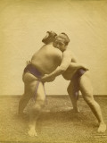 Two Japanese Sumo Wrestlers Reproduction photographique
