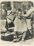 Travelling Barber, Turkey - Shaving a Customer Photographic Print