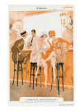 Two Flappers Gossip at a Bar Giclee Print