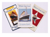 Three Sailing Lists, Two for the White Star Line, One for the Cunard Line Giclee Print