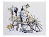 Wheelwrights Making Cart Wheels Giclee Print by Malcolm Greensmith