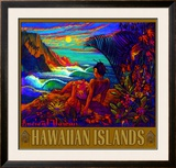 Hawaii Napali Kauai Coast Surf Poster Framed Giclee Print by Rick Sharp