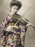 A Stunning Photographic Postcard Depicting a Young Japanese Girl Playing the Voilin Photographic Print