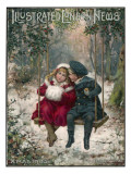 Two Children Sitting on a Swing in a Snowy Landscape Giclee Print