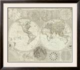 Composite: World or Terraqueous Globe, c.1787 Framed Giclee Print by Samuel Dunn