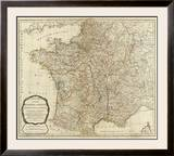 New Map of the Kingdom of France, c.1790 Framed Giclee Print by Thomas Kitchin