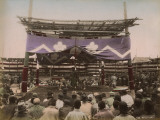 A Sumo Wrestling Contest Taking Place in Japan, Watched by a Large Crowd of Spectators Photographic Print