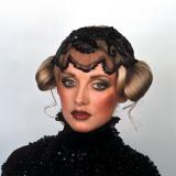 Headshot of Female Fashion Model, Retro, Headdress, Black Lace Photographic Print