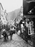 Donkeys in the Steep, Narrow Main Street of Clovelly, Devon Photographic Print