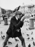 Gentleman Photographer in Trafalgar Square with Pigeons Photographic Print by Shirley Baker