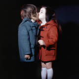 Retro Boy and Girl Kissing, 1970s, Duffel Coat, Winter Photographic Print