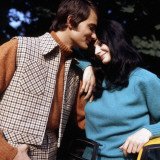 Retro Couple in 1970s Wiinter Fashions Photographic Print