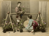 Japanese Flower Seller Stall Photographic Print