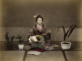 Japanese Lady in Traditional Dress with a Stringed Musical Instrument Photographic Print