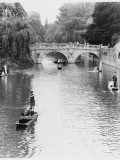 Male and Female Students Punting at Cambridge on the River Cam Photographic Print by Henry Grant