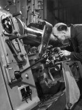 A Lathe Operator at Work Photographic Print by Heinz Zinram