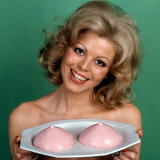 Retro Lady Offering Blancmange Breasts on a Plate, Kitsch, Suggestive, Humour Photographic Print