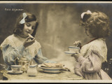 Le Petit Dejeuner Two Little French Girls Start the Day with Coffee and Toast Photographic Print