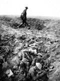 New Zealand Soldiers Resting in Shell-Hole Photographic Print