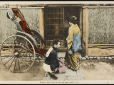 A Japanese Lady Prepares to Enter a Rickshaw Photographic Print