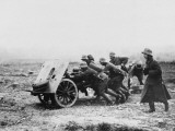 Gunners Manhandling a Trench Gun into a New Position on the Somme During World War I Photographic Print by Robert Hunt