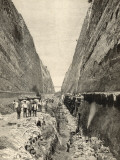 Construction of the Corinth Canal : Cutting the Path of the Canal Through Solid Rock Reproduction photographique