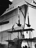 Refitting and Painting a Ship in Manchester Docks Photographic Print by Shirley Baker