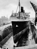 R.M.S. 'Queen Mary' in Dry Dock, Southampton, April 1936 Photographic Print