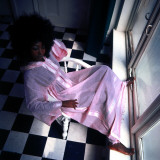 Retro Female Fashion Model 1970s, Afro, Pink Dressing Gown Photographic Print