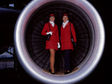 Retro Air Hostesses in Aeroplane Engine Photographic Print