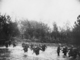 German Infantry Crossing a River on the Western Front During World War I Photographic Print by Robert Hunt