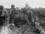 D-Day - American Troops Taking Cover Photographic Print by Robert Hunt