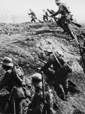 German Soldiers Attacking Out of a Trench During World War I Photographic Print by Robert Hunt