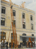 French Sapeurs-Pompiers Use a Long Ladder to Reach the Highest Floors of a Burning Building Photographic Print