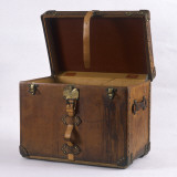 A Large Leather-Bound Trunk with Straps, Buckles and Locks Photographic Print