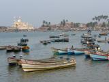 Fishing Boats at Vishinjam, Kerala, India Photographic Print