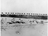 A Camel Train Is Silhouetted on the Horizon of the Sahara Desert Photographic Print