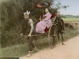 A Japanese Woman Holding a Parasol on a Rickshaw Ride Reprodukcja zdjęcia
