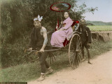 A Japanese Woman Holding a Parasol on a Rickshaw Ride Photographic Print